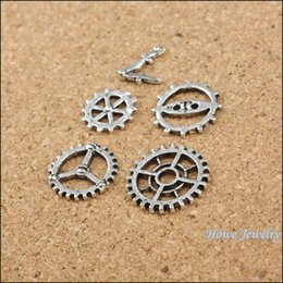 Wholesale Charm 225 - Mixed 225 pcs Ancient Silver Steampunk Gear &Clock Hands alloy pendant DIY charm Fashion Bracelet Necklace Jewelry Fitting 60007