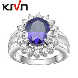 Wholesale Diana Rings - KIVN Fashion Jewelry Blue Pave CZ Cubic Zirconia Princess Diana Engagement Rings for Women Mothers Day Birthday Christmas Gifts