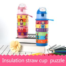Wholesale Robot Puzzle - Dress up girls   robots puzzle insulated straw cups