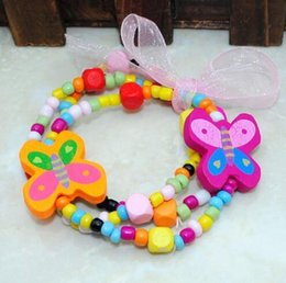 Wholesale Color Wood Beads - Free shipping Kids handmade jewelry !cute children warp charm bracelets little beads mix color design N wholesale CB07