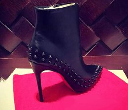 Wholesale Spike Studded - 2017 Paris Womens Design Spike Studded High Heel Red Bottom Boots Pointy Genuine Leather Ankle Boots Luxury Winter Shoes 35-41