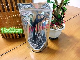"Wholesale Grip Seal Bags - 4.72""x7.87""(12x20cm),100 x Reusable Stand upright translucent aluminium zipLock bag Grip Seal,Front Clear mylar foil pouch zipper resealable"