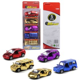 Wholesale Toy Alloy Cars Set - Zorn toys-Alloy car Mini Pull back car Spray plating car model racing 1:64 5pcs sets 8*3cm wholesale Free shipping