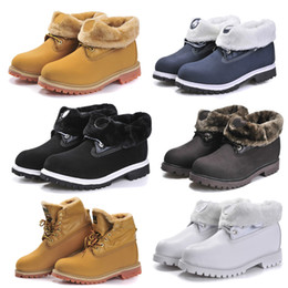Wholesale Lace Up Waterproof Boots Low - 2017 Classic 10061 Yellow Black White TBL Boots Mens Womens With Thick Fur Famous Brand Designer Waterproof Outdoor Work Winter Snow Ankle