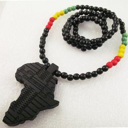 Wholesale Map Pendant Wholesaler - Africa Map Good Wood NYC Hip-Hop Wooden Fashion Necklace Free Shipping Wholesale Free Shipping Hot Sale #AMB15