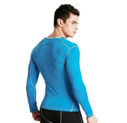 Wholesale Tight Black Shirts - Men 's Tight Training Sports Fitness Running Long Sleeve Tops Warming Dry Skirts Winter T - Shirts