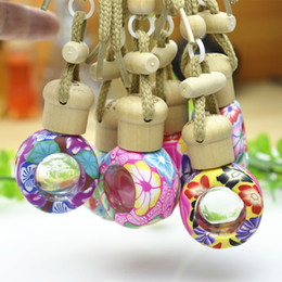 Wholesale Aroma Empty - Wholesale- 6ml Car Perfume Pendent Bottle Empty Porcelain Flower Pottery Aroma Essential Oil Hang Strap Bottles Automatic Volatile