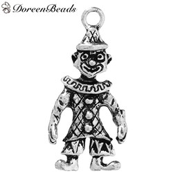 "Wholesale Silver Clown Pendant - 3D Pendants Circus Clown Antique Silver 3.3cm x1.6cm(1 2 8"" x 5 8"")- 3.2cm x1.6cm(1 2 8"" x 5 8""), 10 PCs 2016 new Free shipping jewelry maki"