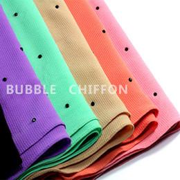 Wholesale Islamic Crystal Wholesale - Wholesale- 18 colors thick bubble chiffon beads crystal scarf silk shawl scarf Muslim hijab wrap plain islamic headwear abaya bandana