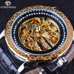 Wholesale Chinese Watches - Forsining Chinese Style Diamond Display Golden Mosaics Bezel Male Watches Luxury Brand Automatic Skeleton Fashion Wrist Watch