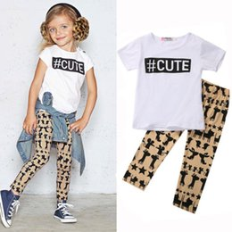Wholesale Giraffe T Shirt Girls - Cute baby girls outfits animal cat mouse giraffe rabbit pant + T-shirt 2pc Outfit 1-6Y preppy school clothes casual sport clothing wholesale
