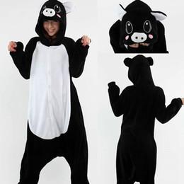 Wholesale Pig Adult Onesie - New Arrival Hot Sale Lovely Cheap Kigurumi Pajamas Anime Pig Cosplay Costume Unisex Adult Onesie Black Dress Sleepwear