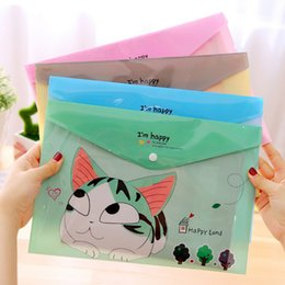Wholesale Cute Cheese - Wholesale- Cute Cheese Cat PVC A4 File Folder Document Filing Bag Stationery Bag