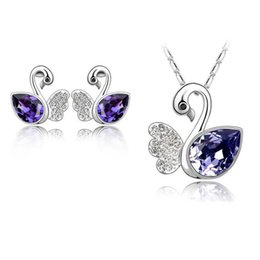 Wholesale Swarovski Earrings White Gold - Hot!Cute 18K White Gold Plated Ausrtrian Crystal Swan Necklace Earrings Jewelry Sets for Women Made With Swarovski Elements Wedding Jewelry