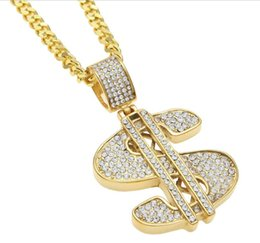Wholesale d signed - AAAAAA 24K plated Gold $ Money Symbol Pendant Hip Hop Bling Crystal Dollar Sign USA d Gold Link Chain Pendant Necklace Men Women Jewelry