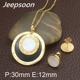 Wholesale Earring Golden Heart - Gold color New Round Styles Stainless steel jewelry pendants and Earrings Set For Women SEWFATBH