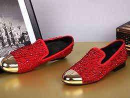 Wholesale Low Heel Mens Dress Shoe - 2 Colors Dandelion Spikes Flat Black Patent Leather Reviets Fashion Mens Loafers Dress Shoes Men Slip On Casual Shoes free shipping