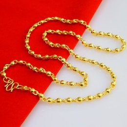 Wholesale 24k Gold Necklace Twist Chain - Don't rub off the gold necklace for men and women Section Transport bead gold plated 24K 999 smooth bead chain chain beads gift