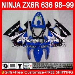 Kit de carenagem kawasaki zx6r 1998 on-line-Azul brilhante 8gifts Corpo Para KAWASAKI NINJA ZX6R 98 99 ZX636 600CC ZX600 28NO63 ZX 6R 1998 1999 ZX 636 ZX-6R 98-99 Carenagem TOP azul preto Kit