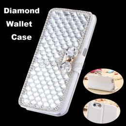 Wholesale Diamond Bling Bow Case - Bling Diamond Rhinestone Bow Wallet Leather Stand Case Cover For iphone7 i7Plus Iphone 6 6s 5s Samsung S7 S7edge S6 Note4 Free shipping