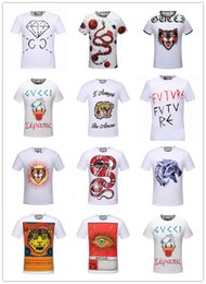 Wholesale T Shirt White Hoodie - 2017 summer new high-end men's brand t-shirt fashion woman short sleeve snake printing fashion t shirt Men's Tops Tees men hoodies