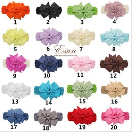 Wholesale Big Bohemian Hair - 20 Color Baby Big Lace Bow Headbands Girls Cute Bow Hair Band Infant Lovely Headwrap Children Bowknot Elastic Accessories Butterfly Hair Cl