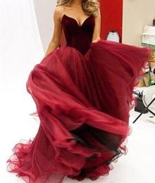 Wholesale Pageant Outfits - burgundy prom dresses 2017 sweetheart neckline velvet top tulle skirts evening dresses pageant gowns party dresses bridal outfits