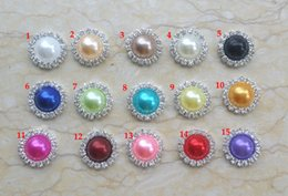 Wholesale Diy Flat Backs - Wholesale 100pcs lot 15MM flat back crystal pearl button Clear Rhinestone Craft Embellishments DIY button For Hair Flower Wedding Invitation