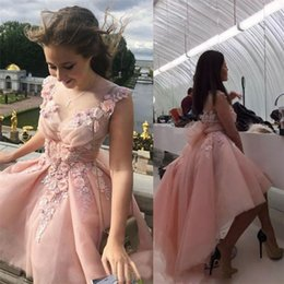 Wholesale Womens Graduation Dresses - Pretty Pale Pink Prom Dress Hi-Lo Tulle Ruffle Graduation Birthday Gown Womens Formal Wear Handmade Evening Dresses Flowers