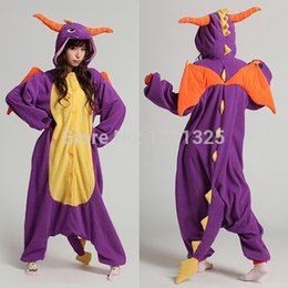 Wholesale Spyro Dragon Costume - Wholesale-Free Shipping Unisex Adult Purple Spyro The Dragon Cosplay Costume Jumpsuit Onesie Hoodie for Halloween Christmas Party