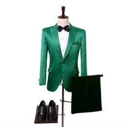 Wholesale Wedding Ties For Men Green - Two Piece Green Wedding Groom Tuxedos for Men 2017 Peaked Lapel One Button Custom Made Groomsmen Suits (Jacket + Pants + Tie)