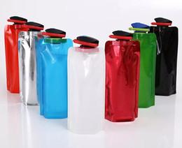 Wholesale Flexible Water Bag - 700ml Duckbill Collapsible Water Bag Flexible PVC Water Bottle Reusable Water Bottles for Hiking,Adventures, Traveling Multicolor LLFA