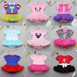 Wholesale Minnie Baby Romper - New Baby Girls Halloween Minnie Romper dresses with headbands Summer kids snow White one-piece lace tutu Skirt Climbing clothing C1480