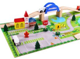 Wholesale Wooden Train Track Cars - Baby Toys Educational Wooden Train Track Baby Changing Track Toys Children Rail Car toys Thomas Orbit Child Gift