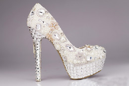Wholesale High Heel Fish Mouth Shoes - Luxury White Rhinestone Wedding Show High Heel Pearls Crystal Fish Mouth Party Shoes New Hot Pumps Bridal Shoes Women Shoe 10cm,12cm,14cm