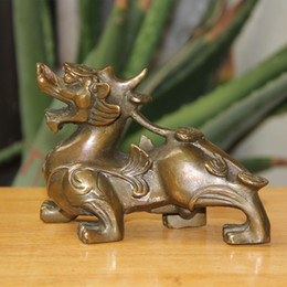 Wholesale Chinese Folk Arts - Chinese FengShui Pure Bronze Wealth PiXiu Brave Troops Unicorn Beast Statue home decoration