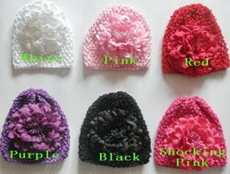 Wholesale Big Flower Hats - 10pcs baby waffle hat crochet hats with 4.5 inch big Multi-storey peony flower clips soft caps stretchy weave Beanie MZ9115
