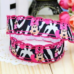 "Wholesale Pink Zebra Print Ribbon - 7 8"" 22mm Pink Zebra Crochet Stitched Edge Printed Grosgrain Ribbon Baby Item Wedding Apparel Gift Event 50 100Yards A2-22-1869"