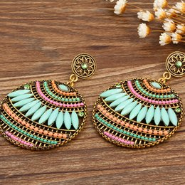 Wholesale Shape Leave - European and American earrings for women Bohemian pierced earrings leaves shape colorful beads earrings free shiping