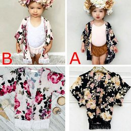 Wholesale Flower Outwears - Xmas Little Girls full flower print fringe shawl Baby ins Spring Summer outwear fashion black & pink tassel floral print Cardigan