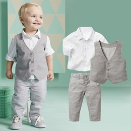 Wholesale Shirts For Boys Jacket - Boys Outfits and Sets Newborn Boys Spring Long Sleeve Shirt + Vest + pants with Polka Dot Bow for Boys Clothes