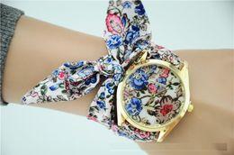 Wholesale Sweet Watches - 2016 New Geneva Ladies flower cloth wristwatch fashion women dress watch high quality fabric watch sweet girls Bracelet watch