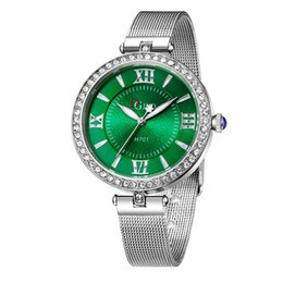 Wholesale Emerald Green Glass - Wholesale Sapphire Watch Jewelry Blue turquoise emerald rubylith ruby Red Face Dial Diamond Stainless Steel Strap Luxury Fashion Casual
