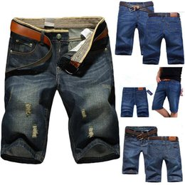 Wholesale mens casual trousers - 5 Styles Summer Casual Cotton mens jean shorts Fashion Brand designer retro Men's hole Knee Length denim Shorts jeans trousers 28-40