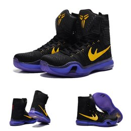 Wholesale Mesh Fabric High Heels - (With shoes Box) 2016 New Bryant Kobe 10 X KB Elite High Black Yollew Purple Men Boots Shoes
