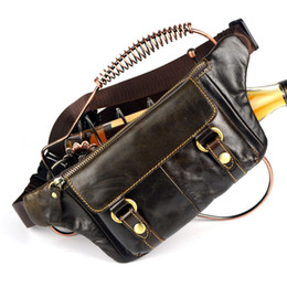 Wholesale Leather Fanny Packs For Men - Wholesale-Vintage bolsas couro genuine leather fanny pack Fashion man small travel sports waist wallet bags for men Free shipping