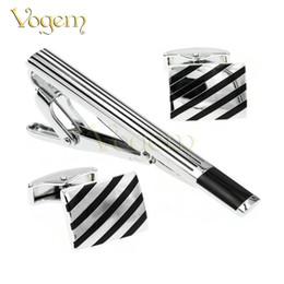 Wholesale Metal Cufflink Tie Set - Vogem Luxury White Gold Cufflinks Plating Metal Necktie Tie Bar Clasp Clip Cufflinks Set Gold Simple Gift Cufflinks Wedding for Mens Jewelry