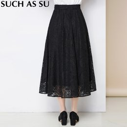 Wholesale Korean Ladies Long Skirts - Lace Mid Long Skirt Women's 2017 Korean Fashion Black Patchwork High Waist S-3XL Size Autumn Winter Ladies Pleated Skirt