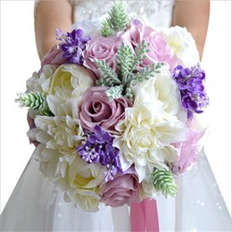 Wholesale Colorful Rose Bouquet - New Arrival Magical Colorful Beautiful Colorful Bridal Bridesmaid Flower wedding bouquet artificial flower rose bridal bouquets