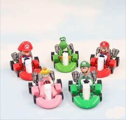 Wholesale Mario Kart Cars - Super Mario Bros Kart Pull Back Car toys 5 design DHL Free new children PVC Super Mario Bros 3cm Animation game series toy B